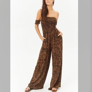 Pants - Smocked Off The Shoulder Tropical Leaf Jumpsuit